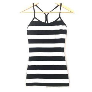 Lululemon Power Y Black & White Striped Tank Top